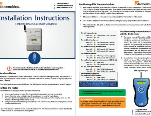 Updated Installers Guide for Emlite GPRS Meters